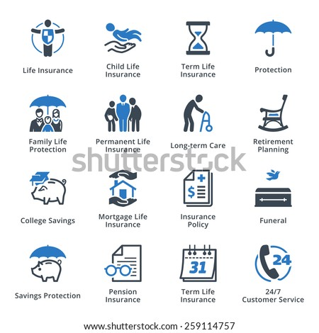 life protection icons   blue