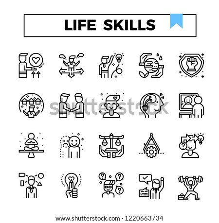 Life skill outline icon set. #1220663734