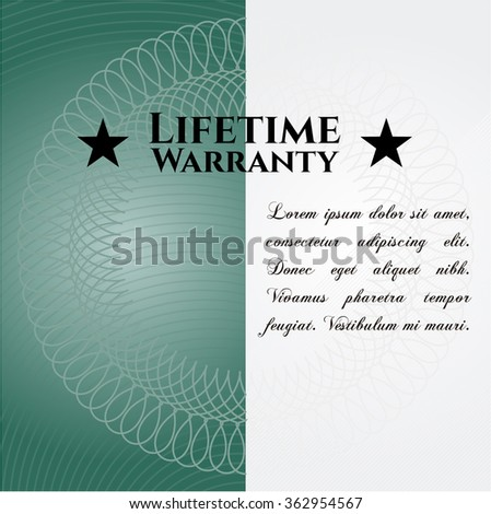 Life Time Warranty banner or card