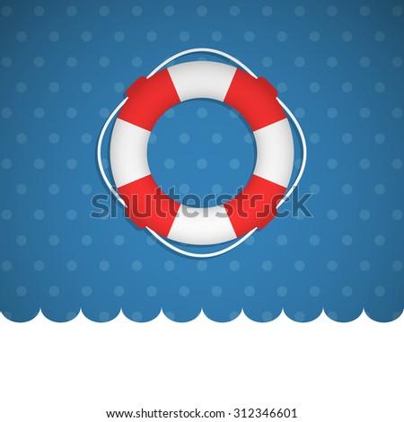 Lifebuoy icon no a blue basckround. Vector illustration.