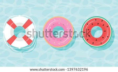 Lifebuoy icon set. Rings for swimming. Flat cartoon style. float rubber ring for children and adults, pool blue water, aqua textured background. Color swim rings icon set watermelon, donut, lifebuoy