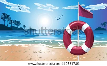 Lifebuoy on the beach. File Illustrator 10