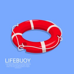 Lifebuoy on the isolated background. A subject for the help on water, rescue of drowning. Sea stock. An element for design.3D. Isometry. A vector illustration in flat style.