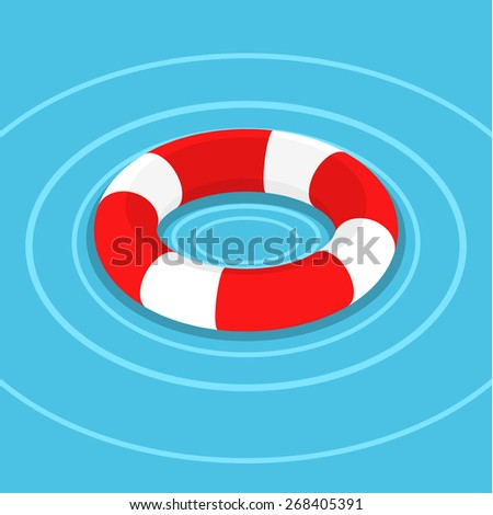 lifebuoy on the water flat