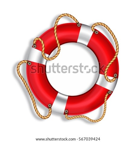 lifebuoy  red  isolated  vector ...