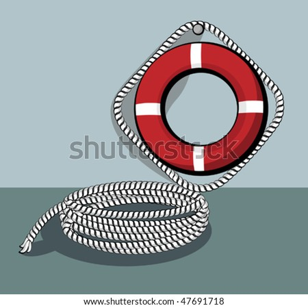 Lifebuoy weighs on the wall, next to the rope