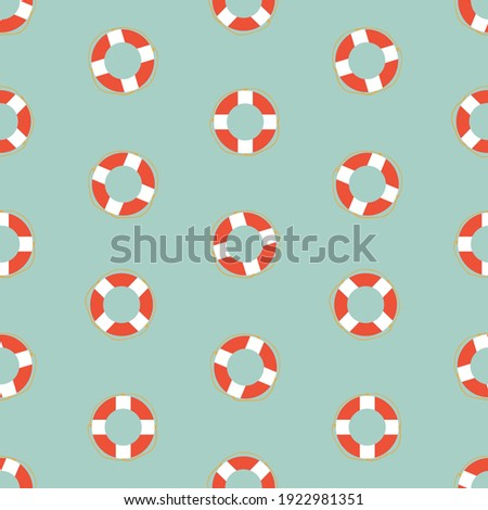 Lifebuoys polka dots style seamless vector pattern. Marine surface print design for fabrics, stationery, scrapbook paper, gift wrap, textiles, home decor, backgrounds, and packaging. Stok fotoğraf ©