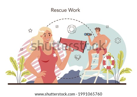 Lifeguard concept. Urgency rescuer help swimmers, surfers, and other water sports participants. Lifesaver on a finding people operation. Isolated flat vector illustration Сток-фото ©