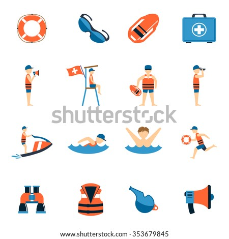 lifeguard icons set with water