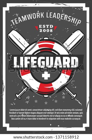 Lifeguard station or tower retro vector poster with lifebuoy, nautical ropes and paddles. Professional equipments of ocean or sea beach life guard. Lifesaving service design