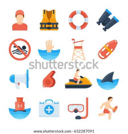 lifeguard vector icons in a