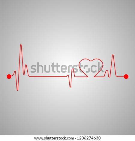 Lifeline. Heart beat. Vector. Stockfoto ©