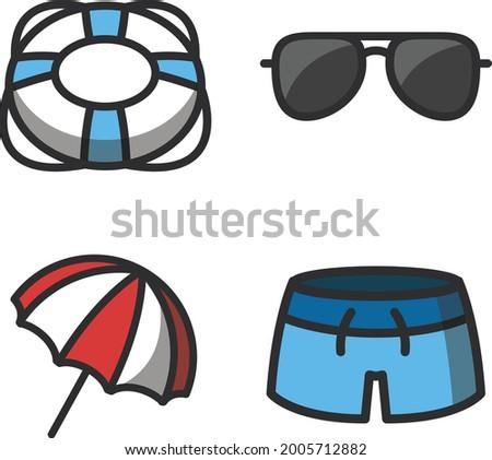 lifering, sunglass, umbrella, swimtrunks summer icon set Stok fotoğraf ©