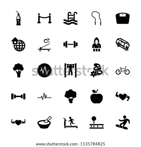 Lifestyle icon. collection of 25 lifestyle filled icons such as cauliflower, porridge, treadmill, barbell, spa stones. editable lifestyle icons for web and mobile.