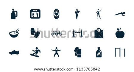 Lifestyle icon. collection of 18 lifestyle filled icons such as milk can, porridge, floor scales, casino girl, family bicycle. editable lifestyle icons for web and mobile.
