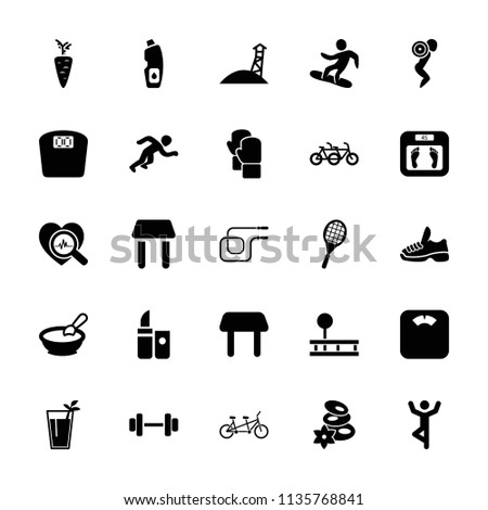 Lifestyle icon. collection of 25 lifestyle filled icons such as porridge, table, floor scales, spa stones, family bicycle. editable lifestyle icons for web and mobile.