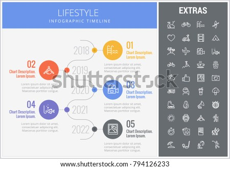 Lifestyle infographic timeline template, elements and icons. Infograph includes numbered options with years, line icon set with healthy food, sport exercise, training machine, leisure activities etc.