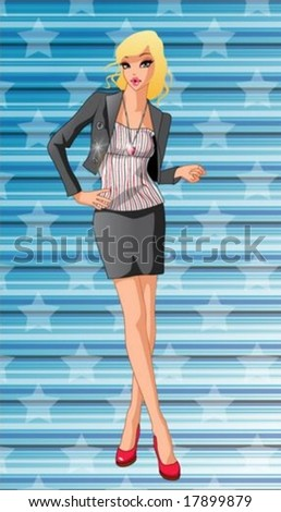 Lifestyle of Joyful People - relaxed standing and hand pose for the camera with an attractive and chic young female isolated on a background of blue wallpaper with stars pattern : vector illustration