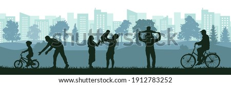 Lifestyle of people, silhouette of happy family, man, woman and child, old man. Learning child to ride bicycle by father, active sport life of elderly man, birth baby on family. Vector illustration.