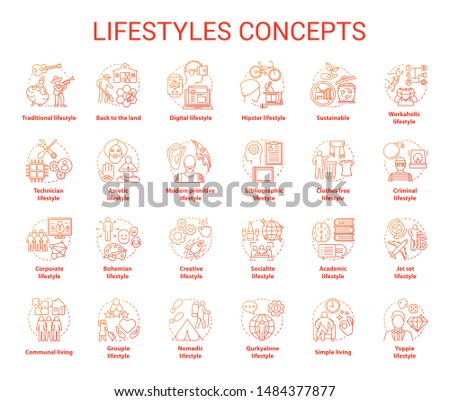 Lifestyles red concepts icons set. Living types idea thin line illustrations. Technician, digital, clothes free, sustainable, ascetic lifestyle. Vector isolated outline drawings. Editable stroke