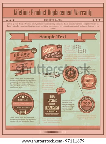 Lifetime Warranty label with retro design