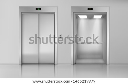 Lift doors, elevator close and open cabin with chrome metal buttons panel, empty building interior, office, hotel or dwelling transportation, lobby hallway indoors, Realistic 3d vector Illustration