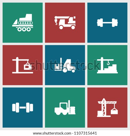 Lift icon. collection of 9 lift filled icons such as forklift, construction crane, truck with hook, barbell, construction  crane. editable lift icons for web and mobile.