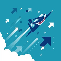 Lift off. Businessman flying up with a rocket engine. Concept business vector illustration