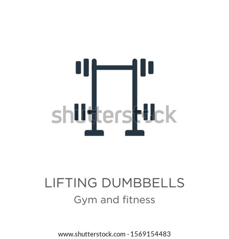 Lifting dumbbells icon vector. Trendy flat lifting dumbbells icon from gym and fitness collection isolated on white background. Vector illustration can be used for web and mobile graphic design, logo,