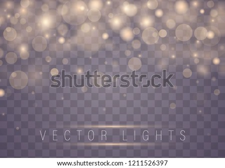 Light abstract glowing bokeh lights. Bokeh lights effect isolated on transparent background. Festive purple and golden luminous background. Christmas concept. stock photo