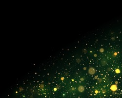 Light abstract glowing bokeh lights. Festive green and golden luminous background with colorful lights bokeh. Magic concept. Christmas concept. Abstract background with bokeh effect.