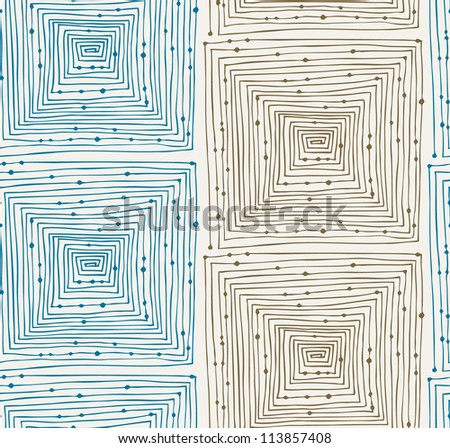 Light abstract linear grunge seamless pattern. Endless background with mazes. Labyrinth. Hand drawn vector texture with squares and dots