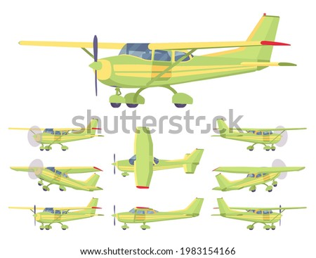 Light aircraft, green, yellow stripe plane livery set. Small regional logistics, mobility and transportation. Vector flat style cartoon illustration isolated on white background, different views