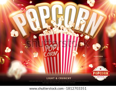 Light and crunchy popcorn ads with confetti and popcorn falling around on red background in 3d illustration