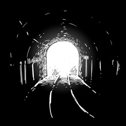 Light at the end of railroad tunnel. black and white illustration