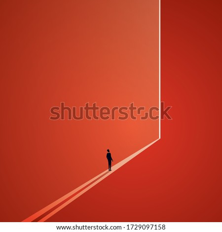 Light at the end of the tunnel vector concept. Symbol of dark times ending, hope on horizon, future success. New opportunity and overcome challenge, finding solution. Eps10 illustration.