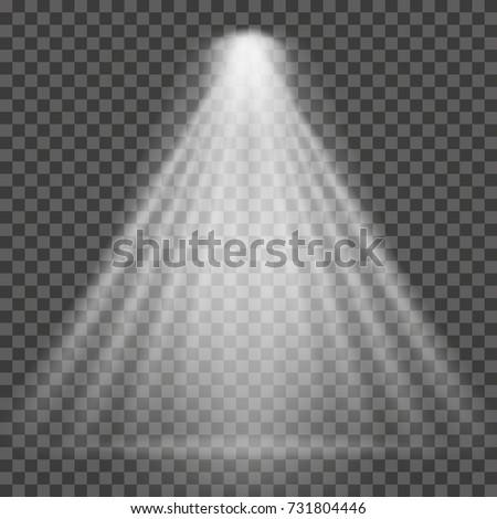 Light beam on transparent background. Bright spotlight light beam for searchlight, scene illumination. Vector