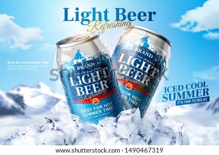 light beer ads design with