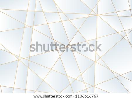 Light blue abstract concept polygonal tech background with golden lines. Vector modern digital art design