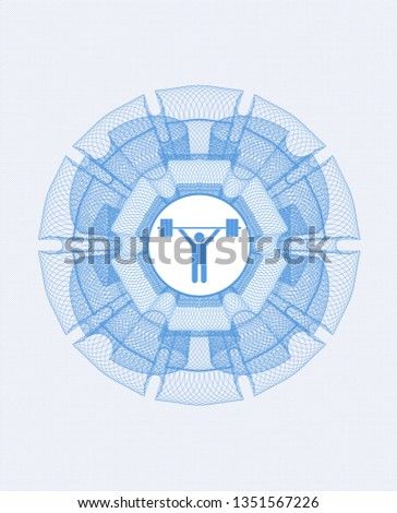 Light blue abstract linear rosette with weightlifting icon inside
