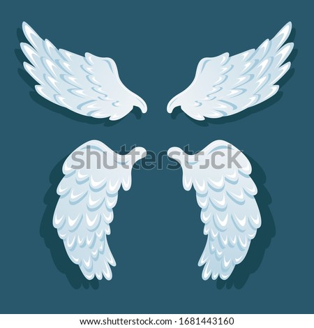Light blue angel wings. Two pairs of white isolated wings with small shadow on blue background. Stock vector. Flat illustration.