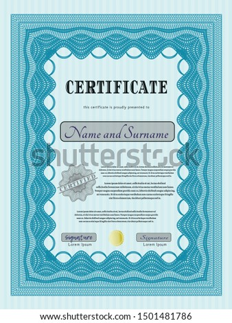 Light blue Awesome Certificate template. Artistry design. Customizable, Easy to edit and change colors. Printer friendly.