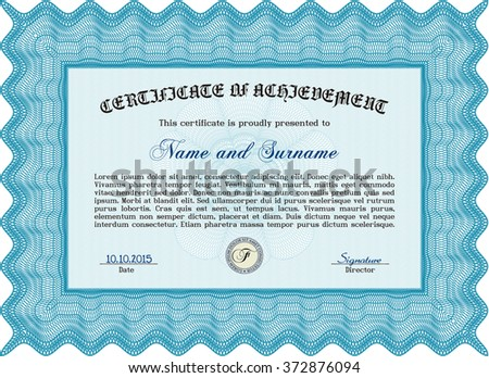 Light blue Awesome Certificate templateMoney Pattern. Award. With great quality guilloche pattern.