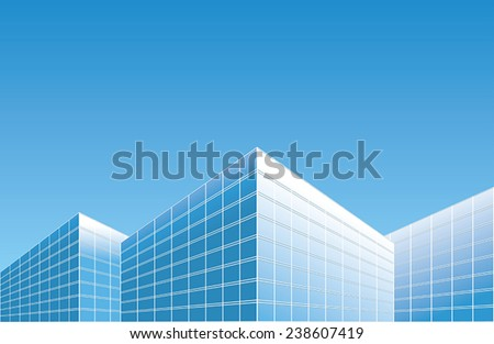light blue buildings on skyline
