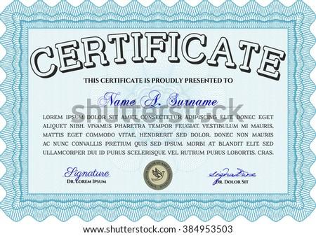 Light blue Certificate. Complex design. Detailed. Printer friendly.