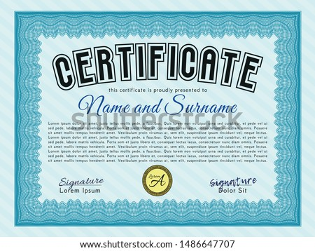 Light blue Certificate of achievement template. Excellent design. Customizable, Easy to edit and change colors. With complex background.