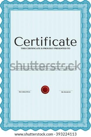 Light blue Certificate of achievement template. Money design. Design template. With guilloche pattern.