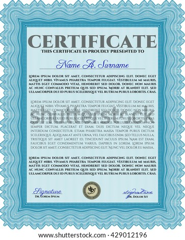 Light blue Certificate template. Customizable, Easy to edit and change colors. Nice design. Easy to print.