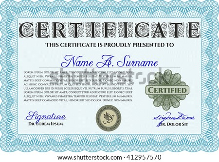 Light blue Certificate template. Detailed. Printer friendly. Nice design.