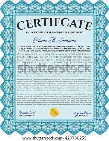 Light blue Certificate template. Detailed. Printer friendly. Nice design.